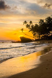 Idyllisk tropisk strand med konturer av palmträd på solnedgång Royaltyfri Foto
