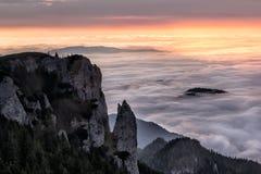 Idylliskt berglandskap av en dimmiga morgon-HDR Royaltyfri Fotografi