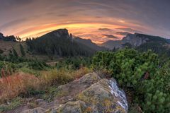 Idylliskt berglandskap av en dimmiga morgon-HDR Royaltyfri Bild