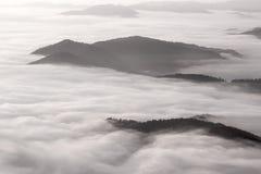 Idylliskt berglandskap av en dimmiga morgon-HDR Arkivfoton