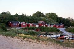 Idylliskt charmigt litet fiskeläge Boderne, Bornholm, Danmark Arkivbilder