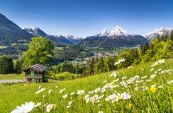 Idylliskt landskap i de bayerska fjällängarna, Berchtesgaden, Tyskland Royaltyfria Bilder