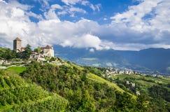 Idylliskt lantligt landskap med en slott och vingårdar Södra Tyrol, Italien royaltyfria foton