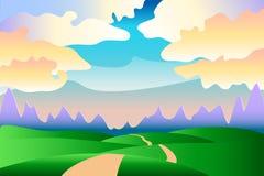 Idylliskt sommarlandskap för tecknad film - bakgrund Fotografering för Bildbyråer