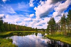 Idylliskt sommarlandskap med den klara sjön i Finland royaltyfria foton