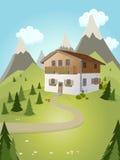 Idylliskt tecknad filmhus med berg i bakgrund