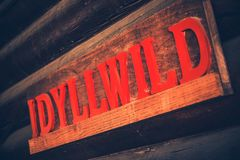 Idyllwild Wooden Sign Stock Images