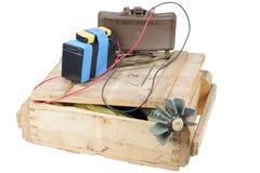 IED (dispositivo esplosivo improvvisato) con con la mina antiuomo Testo su Russo - verso il nemico fotografia stock libera da diritti