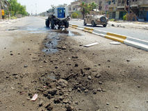 IED Strike National Police Baghdad Iraq 07. IED Strike on Iraqi National Police Armored Vehicle during Surge Baghdad 2007. US Adviser Team assist royalty free stock photo