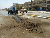 IED Strike National Police Baghdad Iraq 07. IED Strike on Iraqi National Police Armored Vehicle during Surge Baghdad 2007. US Adviser Team assist stock images