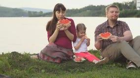 Iedereen eet watermeloen samen gelukkige familie op een picknick door de vijver op een de zomerdag stock footage