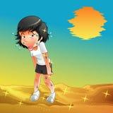 Iemand loopt in zonnige woestijn vector illustratie
