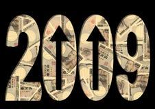 Ienes 2009 com setas Fotografia de Stock Royalty Free