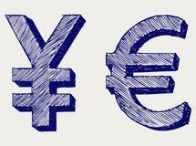 Ienes e euro Imagens de Stock