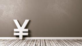 Ienes ou Yuan Currency Sign no assoalho de madeira contra a parede Foto de Stock Royalty Free