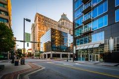 Iepstraat en gebouwen in Greensboro van de binnenstad, Noord-Carolina Royalty-vrije Stock Afbeelding