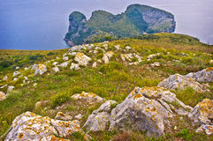 Ieranto, Sorrento Coast, Italy. The landscape of the rugged, rocky Sorrento Coast of southern Italy, at the tip of the Sorrento Peninsula, at Ieranto Bay in the Royalty Free Stock Images