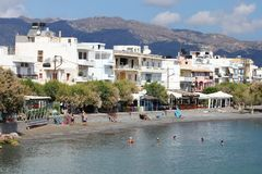 Ierapetra, Crete, Greece. People on the beach, Ierapetra, Crete. The most southern city in Europe Royalty Free Stock Image
