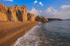 Ierissos-Kakoudia strand, Grekland Royaltyfria Foton
