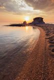 Ierissos-Kakoudia strand, Grekland Arkivbilder
