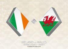 Ierland versus Wales, Liga B, Groep 4 De de voetbalconcurrentie van Europa Stock Illustratie