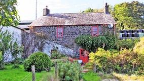 Iers plattelandshuisje door de kant van de weg Stock Fotografie
