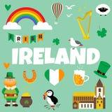 Ierse conceptenachtergrond Reeks illustraties van Ierse dranken, kostuums, traditionele symbolen, muzikale instrumenten royalty-vrije illustratie