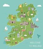 Ierse kaart met symbolen van Ierland, bestemmingen royalty-vrije illustratie