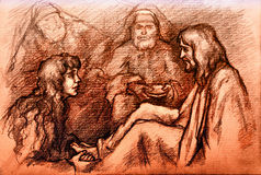 Iesus Christ and Mary Magdalene. Mary Magdalene washing the feet of Jesus Christ Stock Photography