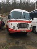 Iets van bus en één speciale auto Stock Fotografie