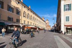 Iew του della Liberta Corso Martiri στην πόλη της φερράρα Στοκ Φωτογραφία