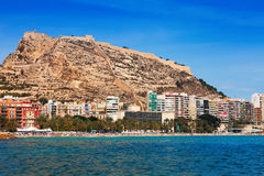 Iew of Alicante with Castle of Santa Barbara Royalty Free Stock Photography