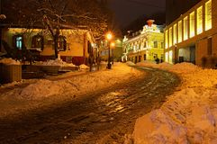 Iew of the Andreevsky Descent in winter. KYIV, UKRAINE- DECEMBER 23,2017: View of the Andreevsky Descent in winter. The street, often advertised by tour guides Royalty Free Stock Photos