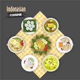 iew av indonesisk kokkonst på tabellservett stock illustrationer