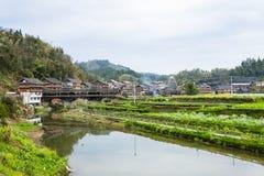 iew de jardines y del puente cubierto en Chengyang foto de archivo libre de regalías