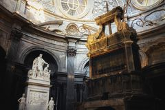 Iew of the holy shroud chapel inside the cathedral of Turin, restored in 2018. TURIN, ITALY - MARCH 7, 2019: view of the holy shroud chapel inside the cathedral royalty free stock photography