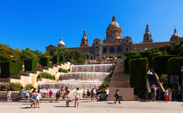 Iew of National Palace of Montjuic in Barcelona Stock Photo