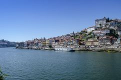 Iew of Old Town of Porto, Portugal. Porto, Portugal - August 2014: view of Old Town of Porto, Portugal. Ribeira and Douro river royalty free stock images
