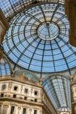 Iew szklana kopuła przy Galleria Vittorio Emanuele II Obrazy Royalty Free
