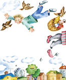 If I could fly. Represents child`s dream of flying for joy as a bird. Useful for childrens cards Royalty Free Stock Images