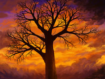 If I Were A Tree. Digital painting of a bare tree with many branches, silhouetted on a warm vibrant yellow-orange cloudy sky Royalty Free Stock Image