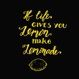 If life gives you lemons make a lemonade. Motivational quote Stock Images