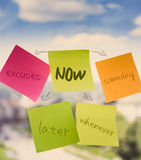If Not Now When?. Concept for procrastination and urgency on sticky notes Stock Photos