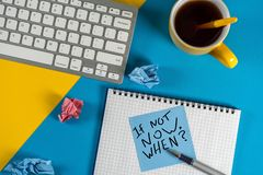 If Not Now When, text on notice paper. Motivating and inspiring question royalty free stock photo