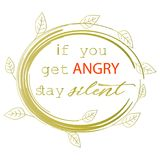 If you get angry stay silent. Prophet Muhammad. If you get angry stay silent. Patience quote. Prophet Muhammad Stock Images