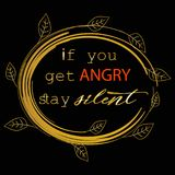 If you get angry stay silent. Prophet Muhammad. If you get angry stay silent. Patience quote. Prophet Muhammad Stock Image