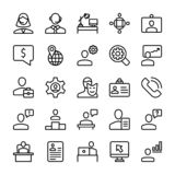 Meeting, Workplace Line Icons Set stock illustration