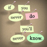If You Never Do You'll Never Know Pushpin Saying Quote Stock Photo