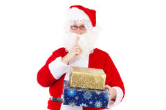 If you are not quiet you will not get any gift!. Santa Clause saying: If you are not quiet you will not get any gift Royalty Free Stock Photography