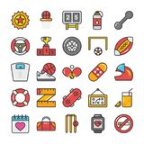 Sports and Games Flat Vector Icons Set 6 Stock Photography